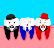 Funny cartoon teeth character in suit with hat and gum. Royalty Free Stock Image