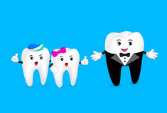 Funny cartoon teeth character in suit talking with little teeth. Stock Image