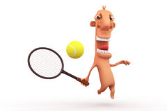 Funny cartoon tennis player. Objects over white. Royalty Free Stock Photography