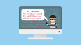Funny cartoon thief in black mask stealing information from PC. cyber crime.