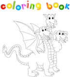 Funny cartoon three headed dragon. Coloring book for kids Royalty Free Stock Photos
