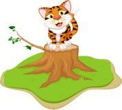 Funny cartoon tiger on tree stump Royalty Free Stock Photos