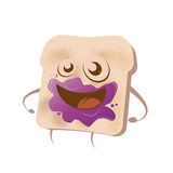 Funny cartoon toast with blueberry marmalade. Illustration of a funny cartoon toast with blueberry marmalade in it's face Stock Image