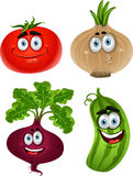 Funny cartoon  tomato, beet, cucumber, onion. Funny cartoon cute vegetables - tomato, beet, cucumber, onion Stock Photo