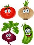 Funny cartoon tomato, beet, cucumber, onion stock photo