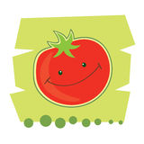 Funny cartoon tomato. Vector illustration of funny cartoon tomato on a green background Royalty Free Stock Images