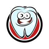 Funny cartoon tooth. In a badge Stock Photography