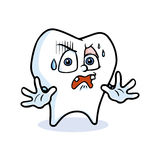 Funny cartoon tooth. Warning gesture by a cartoon tooth with white Royalty Free Stock Image