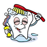 Funny cartoon tooth. Illustration of tooth character with red brush Stock Images