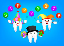 Funny cartoon tooth wearing joker hat. With ball and gift. Dental care concept, Illustration vector illustration