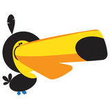 Funny Cartoon Toucan. With a feather sticking out on his head Stock Photos