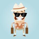 Funny cartoon tourist. Illustration of a funny cartoon tourist stock illustration