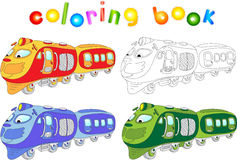 Funny cartoon train. Coloring book for children. Vector illustration Royalty Free Stock Photography
