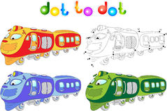 Funny cartoon train. Connect dots and get image.  Stock Photo