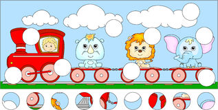Funny cartoon train with lion, elephant and rhino. Complete the Royalty Free Stock Photography