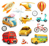 Funny cartoon transportation. Cars and airplanes set of vector icons Stock Images
