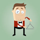 Funny cartoon triangle player Stock Images