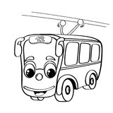 Funny cartoon trolleybus. Black and white illustration for coloring book Royalty Free Stock Photo