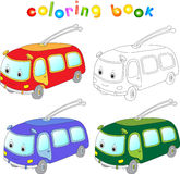 Funny cartoon trolleybus. Coloring book for kids Royalty Free Stock Photography
