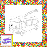 Funny cartoon trolleybus. Coloring book for kids Royalty Free Stock Image