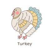 Funny cartoon turkey, children illustration. Simple children illustration - cute animal vector drawing, isolated on white stock illustration