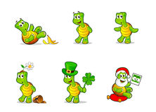 Funny cartoon turtle. Cute awkward cartoon turtle vector illustrations set Royalty Free Stock Images