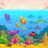 Funny cartoon  underwater illustration Royalty Free Stock Photography