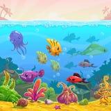 Funny cartoon  underwater illustration Royalty Free Stock Photography