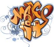 Funny cartoon urban graffiti style illustration with inscription Stock Images