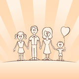 Funny cartoon vector family Stock Photo