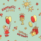 Funny cartoon vector seamless pattern birthday greeting, happiness and fun, hand-drawn retro,  cake with candles, flower Royalty Free Stock Images