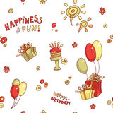 Funny cartoon vector seamless pattern birthday greeting, happiness and fun, hand-drawn retro, cake with candles, flowers Royalty Free Stock Images