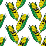 Funny cartoon vegetable corn seamless pattern Stock Photography