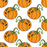 Funny cartoon vegetable orange pumpkin seamless pattern Stock Photography