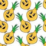Funny cartoon vegetable orange pumpkin seamless pattern Stock Photo