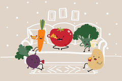 Funny cartoon vegetables hanging out at home. Sketched living-room background. Stock Photography