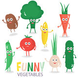 Funny cartoon vegetables set. Vector illustration isolated on white. Stock Photo