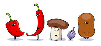 Funny cartoon vegetables symbols. Stock Photo