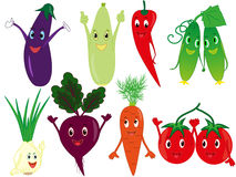 Funny cartoon vegetables Royalty Free Stock Images