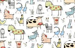 Funny Cartoon Village Domestic Animals Seamless Stock Photography