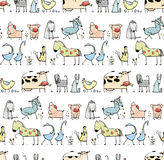 Funny Cartoon Village Domestic Animals Seamless Stock Images
