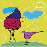 Funny cartoon and vintage birds Royalty Free Stock Photo