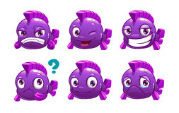 Funny cartoon violet fish Stock Images