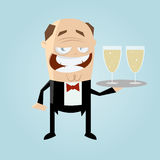 Funny cartoon waiter Royalty Free Stock Image