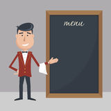 Funny cartoon waiter with menu. Royalty Free Stock Images