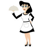 Funny cartoon waitress Stock Image