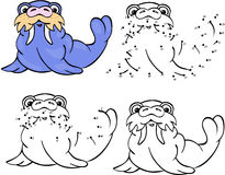 Funny cartoon walrus. Vector illustration. Coloring and dot to d Stock Image