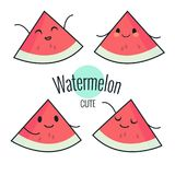 Funny cartoon watermelon character with different emotions on the face. Comic emoticon stickers set. Vector icons, isolated on whi. Te. Healthy food Royalty Free Stock Photo