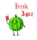 Funny cartoon watermelon drink  juice. Fresh Juice. Flat style. Vector illustration.  Stock Photos