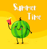 Funny cartoon watermelon with lemonade on the beach. Summer time. Flat style. Vector.  Royalty Free Stock Photo